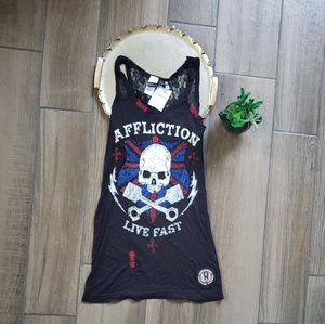 Affliction American Custom Skull Lace Tank patch S